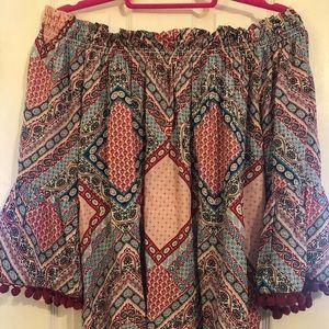 Patterned off the shoulder blouse, L